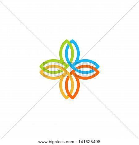 Isolated abstract colorful cross vector logo. Medical logotype. Flower petals illustration. Floral decorative element. Clinic and hospital emblem. Natural products icon