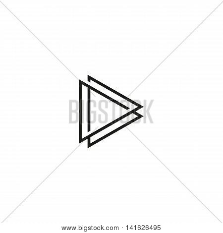 Isolated black and white play button contour vector logo. Triangular multimedia logotype. Pause icon. Player element