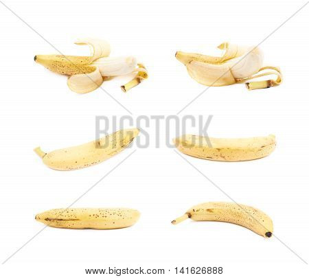 Single spotted banana isolated over the white background, set of six different foreshortenings