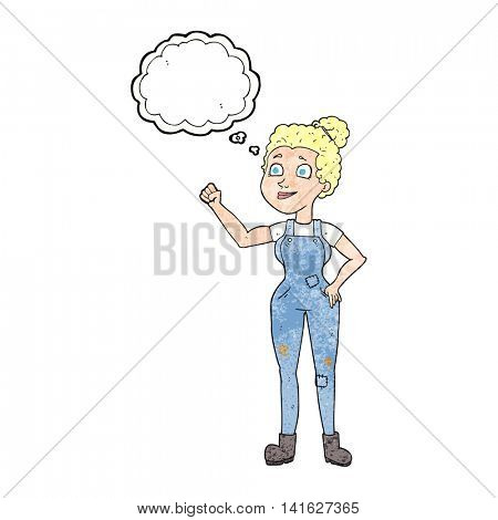freehand drawn thought bubble textured cartoon woman in dungarees