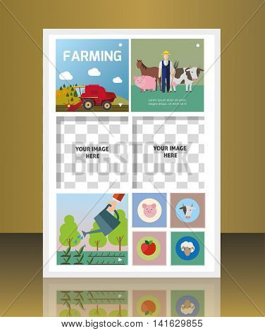 Vector agriculture and gardening circle brochure cover.