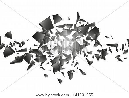 Black explosion on white background, Explosion cloud of black pieces, Abstract vector illustration