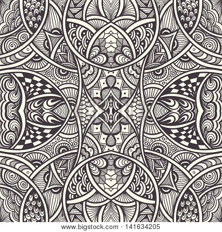 Abstract Background with seamless  Zen-doodle or  Zen-tangle  pattern black on white for coloring page or relax coloring book or wallpaper or for decorate package clothes