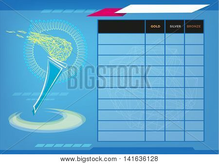 Flame of Sportmanship in a scoreboard with elements. Editorial Clip Art.