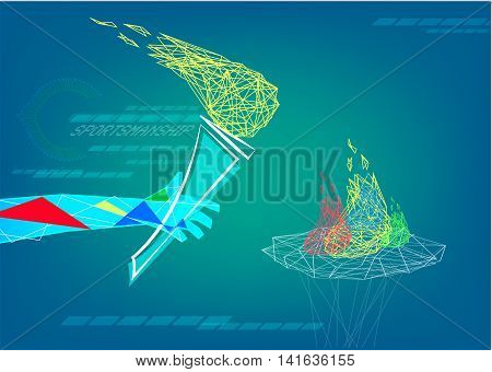A line art hand holds flame of sportsmanship in an abstract low poly style. Editorial Clip Art.