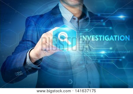 Business internet technology concept. Businessman chooses Investigation button on a touch screen interface. poster
