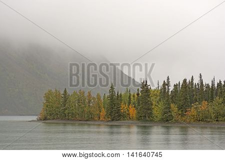 Fog and Fall in Kathleen Lake in Kluane National Park in the Yukon Territory