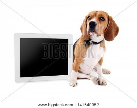 Funny cute dog with tablet isolated on white