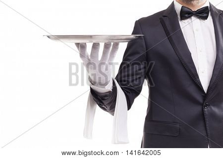 Butler holding a silver tray, isolate on white background