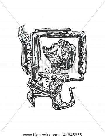 Hand drawn illustration or drawing of a man with a riffle or shotgun shooting himself