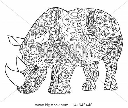 Rhinoceros. Black white hand drawn doodle animal. Ethnic patterned vector illustration. African indian totem tribal zentangle design. Sketch for coloring page tattoo poster print t-shirt