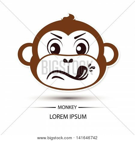 Monkey Face Touchy Logo And White Background Vector