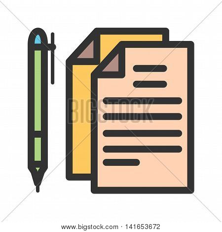 Pen, paper, document icon vector image. Can also be used for schooling. Suitable for use on web apps, mobile apps and print media.