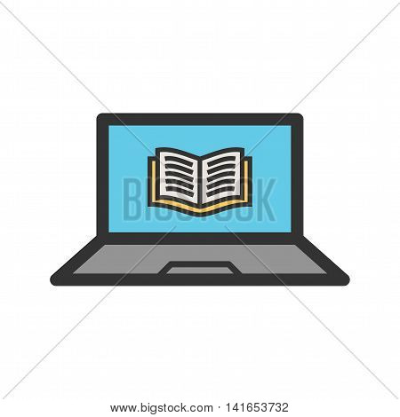 Online, books, education icon vector image. Can also be used for schooling. Suitable for use on web apps, mobile apps and print media.