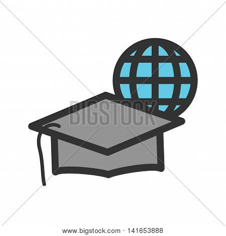 Graduation, online, university icon vector image. Can also be used for schooling. Suitable for use on web apps, mobile apps and print media.