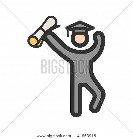 Graduation, students, education icon vector image. Can also be used for schooling. Suitable for use on web apps, mobile apps and print media.
