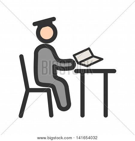 Desk, school, study icon vector image. Can also be used for schooling. Suitable for use on web apps, mobile apps and print media.