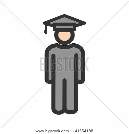 Student, standing, school icon vector image. Can also be used for schooling. Suitable for use on web apps, mobile apps and print media.
