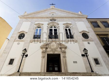 Church of the Most Holy Sacrament was rebuilt after the Lisbon Earthquake of 1755 and still is today the only church facing East in Lisbon Portugal