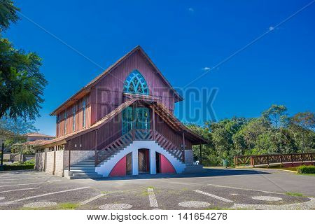 CURITIBA , BRAZIL - MAY 12, 2016: nice small chapel located in the german forest builded in honor to the german immigrants in the city.