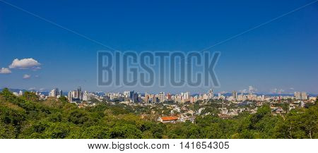 CURITIBA , BRAZIL - MAY 12, 2016: panoramic view of the city from a city park located in vista alegre neighborhood.