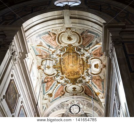 LISBON, PORTUGAL - October 22, 2015: Detail of the ceiling of the main chapel at the Baroque Church of the Most Holy Sacrament ion October 22, 2015 on October 22, 2015 in Lisbon, Portugal