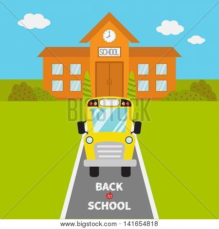 School building with clock and windows. City construction. Yellow school bus kids on the road. Cartoon education clipart collection. Back to school. Flat design. Vector illustration