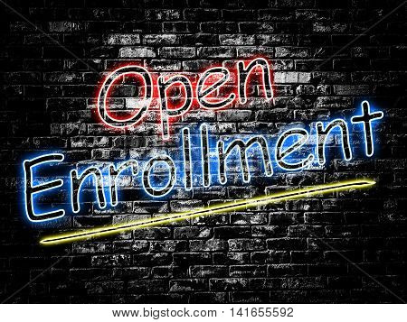 Open Enrollment sign on old black vintage brick wall background