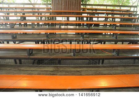 metallic bleachers in sport stadium at school