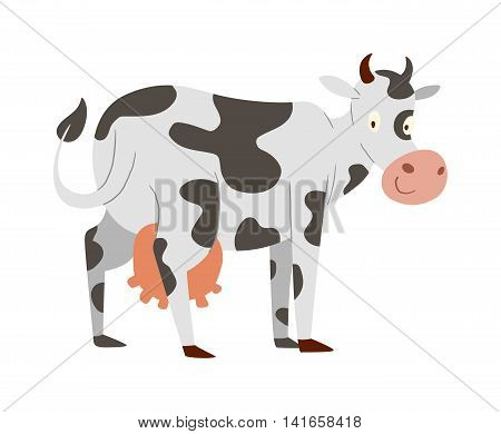 Milk cow bull buffalo cartoon character. Cartoon cow color dairy farm beef, nature domestic farm animal. Cartoon cow action, with cute heifer different in pose vector.