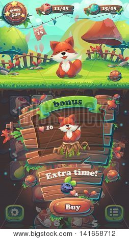 Feed the fox GUI match 3 bonus window - cartoon stylized vector illustration mobile format with options buttons game items.