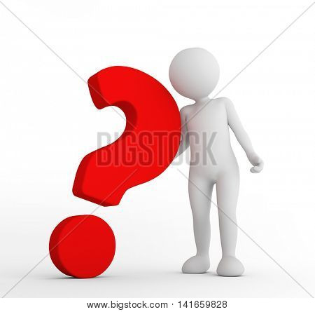 Red big question mark and toon man . FAQ, ask, search concepts. 3D illustration