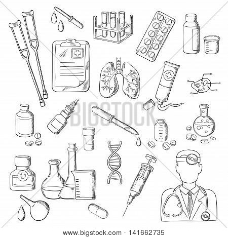 Sketches of doctor with stethoscope, pill, syringe, test tube, medical checkup form, laboratory flask, DNA, human lungs and cell, medicine bottle, ointment tube, dropper, crutches and enema