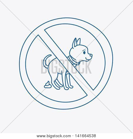 No dog pooping doodle blue line sign on white background. Vector illustration