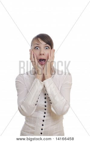 isolated surprised young business woman showing shok poster