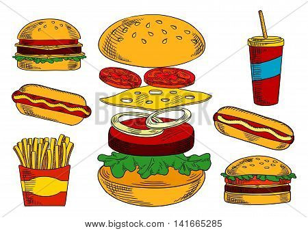 Cheeseburger sketch symbol with fresh tomato and onion vegetables, cheese and beef patty, surrounded by double cheeseburger, hot dog, takeaway paper cup of coffee and box of french fries