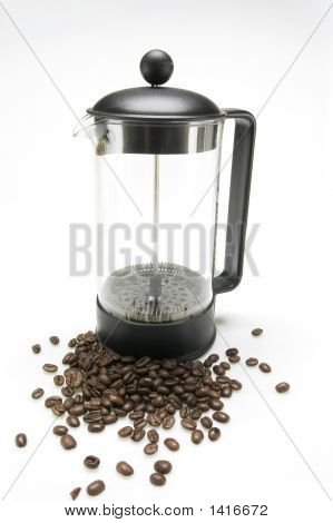 French Press With Coffee Beans