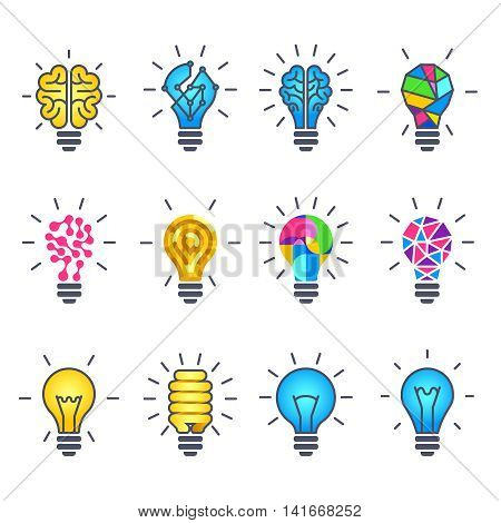 Light bulb idea, creative vector icons. Set of light bulb, illustration of power idea light bulb