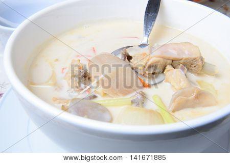 Tom kha kai -chicken in coconut milk soup Thai food
