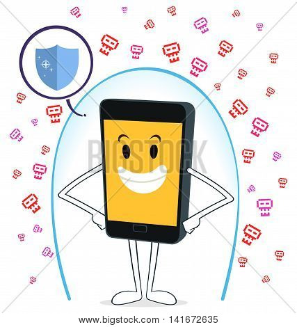 smartphone protected from virus attack vector illustration