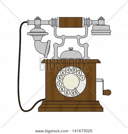 Old vintage cartoon styled phone with a rotary dialer.