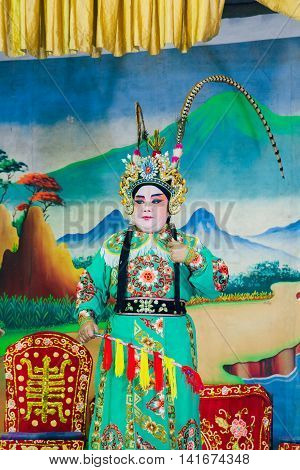 Actors Playing Traditional Chinese Opera, Penang, Malaysia