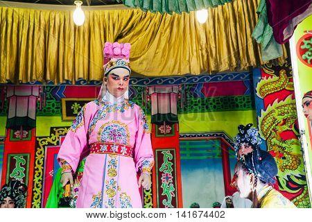 Actors Playing Traditional Chinese Opera, Penang, Malaysia