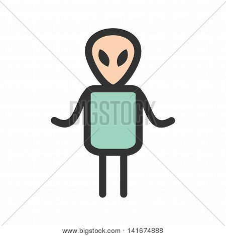 Alien, face, head icon vector image.Can also be used for astronomy. Suitable for use on web apps, mobile apps and print media.