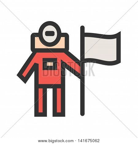 Man, astronaut, flag icon vector image.Can also be used for astronomy. Suitable for use on web apps, mobile apps and print media.
