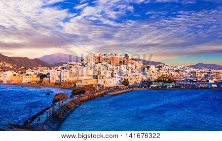 Beautiful Naxos island over sunset, Greece, Cyclades