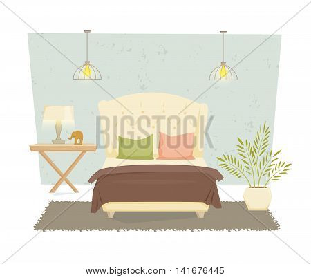Bedroom interior with furniture and decoration in modern style. Bedroom interior cartoon vector illustration. Bedroom furniture and decor: bed, bedside table, lamp, pillow, shade. Luxury interior