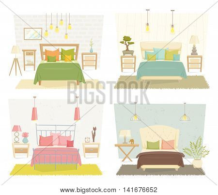Bedroom interior with furniture and decoration set. Bedroom interior cartoon vector illustration. Bedroom furniture different style: eco, loft, modernism, japanese. Modern interior