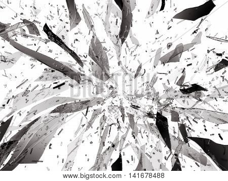 Pieces Of Shattered Glass Isolated