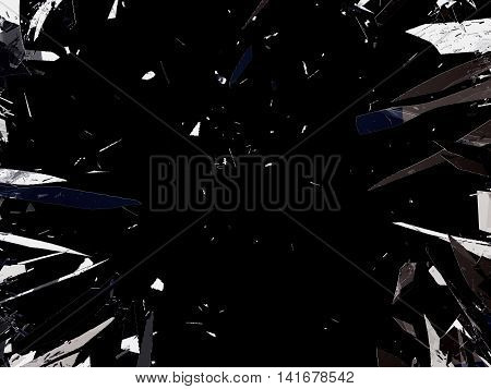 Shattered Glass Isolated Over Black Background